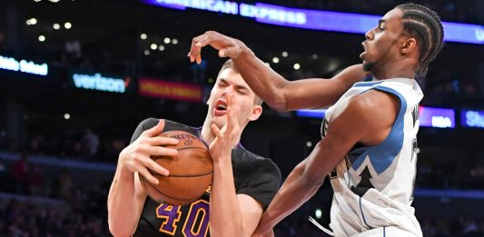 Mar 24, 2017; Los Angeles, CA, USA; Los Angeles Lakers center Ivica Zubac (40) fights to control the ball against Minnesota Timberwolves forward Andrew Wiggins (22) during the second half of a NBA basketball game at Staples Center. Mandatory Credit: Kirby Lee-USA TODAY Sports