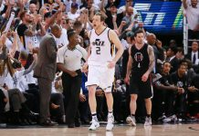 Apr 23, 2017; Salt Lake City, UT, USA; Utah Jazz forward Joe Ingles (2) celebrates after scoring a three point shot during the fourth quarter against the LA Clippers in game four of the first round of the 2017 NBA Playoffs at Vivint Smart Home Arena. Utah Jazz won the game 105-98. Mandatory Credit: Chris Nicoll-USA TODAY Sports