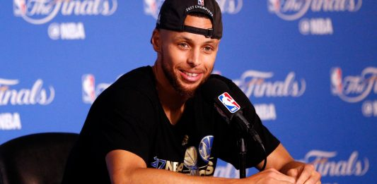Jun 12, 2017; Oakland, CA, USA; Golden State Warriors guard Stephen Curry at a press conference after game five of the 2017 NBA Finals against the Cleveland Cavaliers at Oracle Arena. Mandatory Credit: Cary Edmondson-USA TODAY Sports