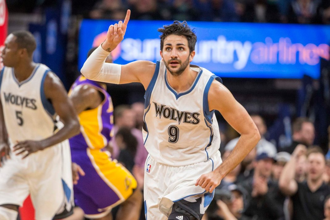 Mar 30, 2017; Minneapolis, MN, USA; Minnesota Timberwolves guard Ricky Rubio (9) points to a teammate after making a three point shot in the second half against the Los Angeles Lakers at Target Center. Mandatory Credit: Jesse Johnson-USA TODAY Sports