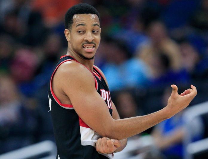 Feb 23, 2017; Orlando, FL, USA; Portland Trail Blazers guard C.J. McCollum (3) rubs his right elbow after a hard fall during the fourth quarter against the Orlando Magic at Amway Center. The Trail Blazers won 112-103. Mandatory Credit: Reinhold Matay-USA TODAY Sports