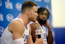 September 25, 2017; Los Angeles, CA, USA; Los Angeles Clippers forward Blake Griffin (32) speaks during media day at Clippers Practice Facility. Mandatory Credit: Gary A. Vasquez-USA TODAY Sports