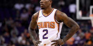 Oct 11, 2017; Phoenix, AZ, USA; Phoenix Suns guard Eric Bledsoe (2) stands on the court in the first half of the game against the Portland Trail Blazers at Talking Stick Resort Arena. Mandatory Credit: Jennifer Stewart-USA TODAY Sports