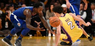 Oct 19, 2017; Los Angeles, CA, USA; LA Clippers guard Patrick Beverley (21) steals the ball from Los Angeles Lakers guard Lonzo Ball (2) during the first half at Staples Center. Mandatory Credit: Kelvin Kuo-USA TODAY Sports