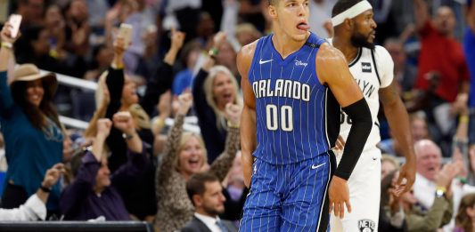 Oct 24, 2017; Orlando, FL, USA; Orlando Magic forward Aaron Gordon (00) celebrates as he makes a basket during the fourth quarter against the Brooklyn Nets at Amway Center. Mandatory Credit: Kim Klement-USA TODAY Sports