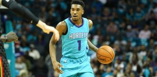 Oct 20, 2017; Charlotte, NC, USA; Charlotte Hornets guard Malik Monk (1) holds the ball during the game against the Atlanta Hawks at Spectrum Center. Mandatory Credit: Jeremy Brevard-USA TODAY Sports