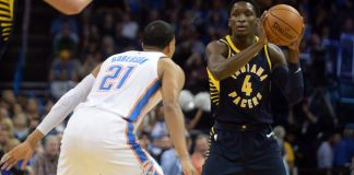 Oct 25, 2017; Oklahoma City, OK, USA; Indiana Pacers guard Victor Oladipo (4) looks to pass the ball while guarded by Oklahoma City Thunder guard Andre Roberson (21) during the first quarter Chesapeake Energy Arena. Mandatory Credit: Mark D. Smith-USA TODAY Sports