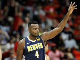 Oct 27, 2017; Atlanta, GA, USA; Denver Nuggets forward Paul Millsap (4) acknowledges fans after a tribute video shows against the Atlanta Hawks in the first quarter at Philips Arena. Mandatory Credit: Brett Davis-USA TODAY Sports