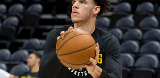 Oct 28, 2017; Salt Lake City, UT, USA; Los Angeles Lakers guard Lonzo Ball (2) warms up prior to the game against the Utah Jazz at Vivint Smart Home Arena. Mandatory Credit: Russ Isabella-USA TODAY Sports