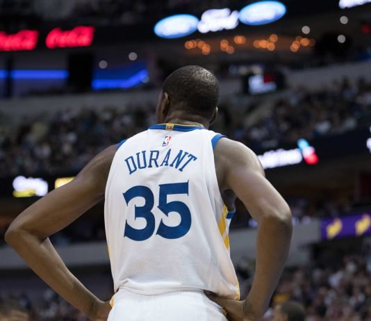 Oct 23, 2017; Dallas, TX, USA; Golden State Warriors forward Kevin Durant (35) during the game against the Dallas Mavericks at the American Airlines Center. The Warriors defeat the Mavericks 133-103. Mandatory Credit: Jerome Miron-USA TODAY Sports