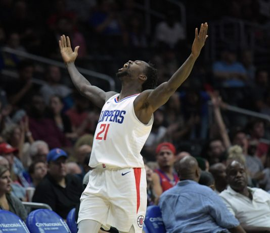 Oct 24, 2017; Los Angeles, CA, USA; Los Angeles Clippers guard Patrick Beverley (21) celebrates during an NBA basketball game against the Utah Jazz at Staples Center. The Clippers defeated the Jazz 102-84. Mandatory Credit: Kirby Lee-USA TODAY Sports