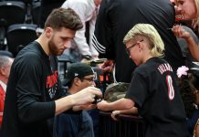 Nov 1, 2017; Salt Lake City, UT, USA; Portland Trail Blazers center Jusuf Nurkic (27) signs autographs before the game between the Utah Jazz and the Portland Trail Blazers at Vivint Smart Home Arena. Mandatory Credit: Chris Nicoll-USA TODAY Sports