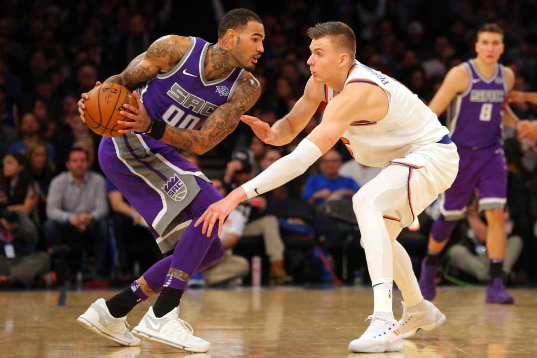 Nov 11, 2017; New York, NY, USA; Sacramento Kings center Willie Cauley-Stein (00) controls the ball against New York Knicks power forward Kristaps Porzingis (6) during the third quarter at Madison Square Garden. Mandatory Credit: Brad Penner-USA TODAY Sports
