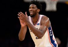 November 15, 2017; Los Angeles, CA, USA; Philadelphia 76ers center Joel Embiid (21) reacts during the 115-109 victory against the Los Angeles Lakers in the second half at Staples Center. Mandatory Credit: Gary A. Vasquez-USA TODAY Sports