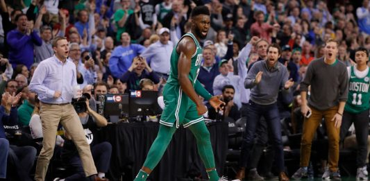 Nov 16, 2017; Boston, MA, USA; Boston Celtics guard Jaylen Brown (7) reacts after his three point basket against the Golden State Warriors in the second half at TD Garden. Mandatory Credit: David Butler II-USA TODAY Sports
