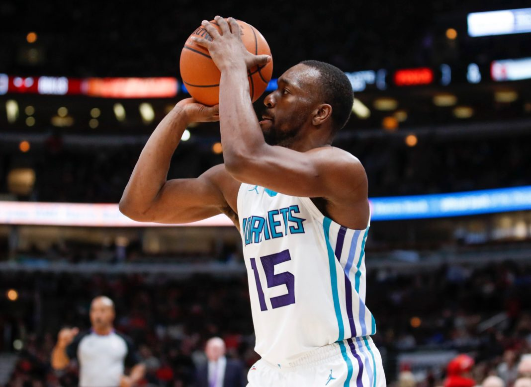Nov 17, 2017; Chicago, IL, USA; Charlotte Hornets guard Kemba Walker (15) shoots the ball against the Chicago Bulls during the second half at United Center. Mandatory Credit: Kamil Krzaczynski-USA TODAY Sports