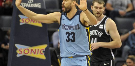 Nov 26, 2017; Memphis, TN, USA; Memphis Grizzlies center Marc Gasol (33) reacts during the second half against the Brooklyn Nets at FedExForum. Brooklyn Nets defeats the Memphis Grizzlies 99-88. Mandatory Credit: Justin Ford-USA TODAY Sports