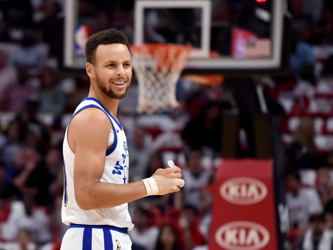 Dec 3, 2017; Miami, FL, USA; Golden State Warriors guard Stephen Curry (30) reacts after fouling Miami Heat guard Goran Dragic (not pictured) during the first half at American Airlines Arena. Mandatory Credit: Steve Mitchell-USA TODAY Sports