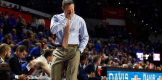 Dec 4, 2017; Gainesville, FL, USA; Florida Gators head coach Mike White reacts against the Florida State Seminoles during the second half at Exactech Arena at the Stephen C. O'Connell Center. Mandatory Credit: Kim Klement-USA TODAY Sports
