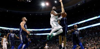 Dec 6, 2017; Boston, MA, USA; Boston Celtics guard Kyrie Irving (11) drives to the basket against the Dallas Mavericks during the fourth quarter of a 97-90 Boston victory at TD Garden. Mandatory Credit: Winslow Townson-USA TODAY Sports