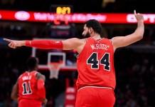Dec 9, 2017; Chicago, IL, USA; Chicago Bulls forward Nikola Mirotic (44) reacts after making a three point basket against the New York Knicks during the first half at the United Center. Mandatory Credit: Mike DiNovo-USA TODAY Sports