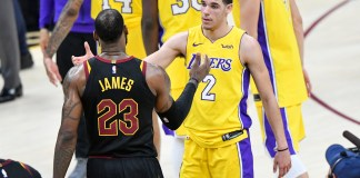 Dec 14, 2017; Cleveland, OH, USA; Cleveland Cavaliers forward LeBron James (23) and Los Angeles Lakers guard Lonzo Ball (2) shake hands after a Cavs win at Quicken Loans Arena. Mandatory Credit: David Richard-USA TODAY Sports