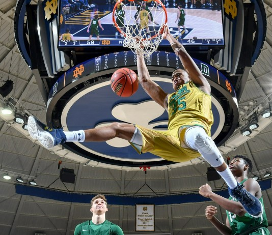 Dec 19, 2017; South Bend, IN, USA; Notre Dame Fighting Irish forward Bonzie Colson (35) dunks in the second half against the Dartmouth Big Green at the Purcell Pavilion. Mandatory Credit: Matt Cashore-USA TODAY Sports