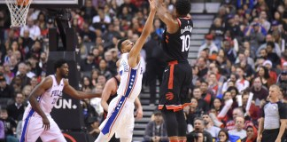 Dec 23, 2017; Toronto, Ontario, CAN; Toronto Raptors guard DeMar DeRozan (10) shoots for a basket over Philadelphia 76ers guard Timothe Luwawu-Cabarrot (7) in the second half at Air Canada Centre. Mandatory Credit: Dan Hamilton-USA TODAY Sports