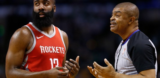 Dec 28, 2017; Boston, MA, USA; Houston Rockets guard James Harden (13) pleads with the referee during the second half against the Boston Celtics at TD Garden. Mandatory Credit: Greg M. Cooper-USA TODAY Sports