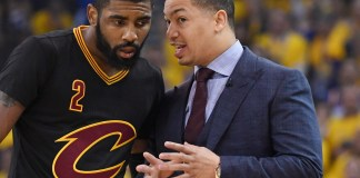 Jun 12, 2017; Oakland, CA, USA; Cleveland Cavaliers head coach Tyronn Lue talks with guard Kyrie Irving (2) against the Golden State Warriors during the first quarter in game five of the 2017 NBA Finals at Oracle Arena. Mandatory Credit: Kyle Terada-USA TODAY Sports