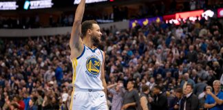 Jan 3, 2018; Dallas, TX, USA; Golden State Warriors guard Stephen Curry (30) waves to the Dallas Mavericks fans after making the game winning shot against the Mavericks at the American Airlines Center. The Warriors defeat the Mavericks 125-122. Mandatory Credit: Jerome Miron-USA TODAY Sports
