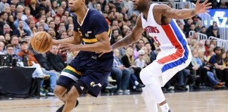 Jan 13, 2017; Salt Lake City, UT, USA; Utah Jazz guard Rodney Hood (5) gets past Detroit Pistons forward Reggie Bullock (25) and goes to the basket during the fourth quarter at Vivint Smart Home Arena. Utah Jazz won the game 110-77. Mandatory Credit: Chris Nicoll-USA TODAY Sports