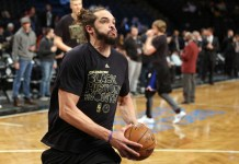 Feb 1, 2017; Brooklyn, NY, USA; New York Knicks center Joakim Noah (13) warms up before a game against the Brooklyn Nets at Barclays Center. Mandatory Credit: Brad Penner-USA TODAY Sports