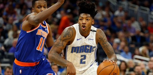 Nov 8, 2017; Orlando, FL, USA; Orlando Magic guard Elfrid Payton (2) drives to the basket as New York Knicks guard Frank Ntilikina (11) defends during the second half at Amway Center. Mandatory Credit: Kim Klement-USA TODAY Sports