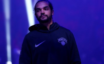 Dec 22, 2017; Detroit, MI, USA; New York Knicks center Joakim Noah (13) during player introductions prior to the game against the Detroit Pistons at Little Caesars Arena. Mandatory Credit: Aaron Doster-USA TODAY Sports
