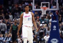 Jan 29, 2018; Dallas, TX, USA; Miami Heat center Hassan Whiteside (21) reacts during the second half against the Dallas Mavericks at American Airlines Center. Mandatory Credit: Kevin Jairaj-USA TODAY Sports