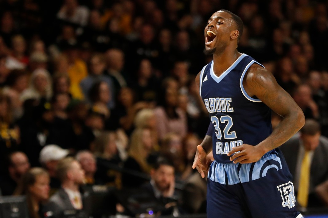 Feb 2, 2018; Richmond, VA, USA; Rhode Island Rams guard Jared Terrell (32) celebrates on the court against the Virginia Commonwealth Rams in the first half at Stuart C. Siegel Center. Mandatory Credit: Geoff Burke-USA TODAY Sports