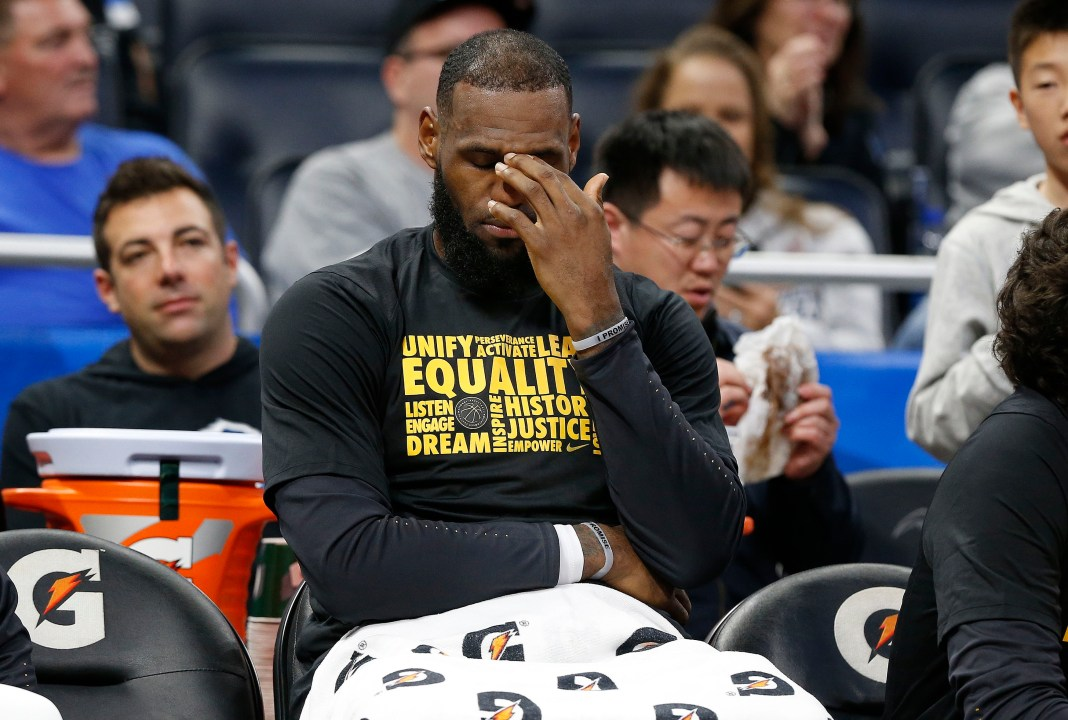 Feb 6, 2018; Orlando, FL, USA; Cleveland Cavaliers forward LeBron James (23) reacts on the bench against the Orlando Magic during the second half at Amway Center. Mandatory Credit: Kim Klement-USA TODAY Sports