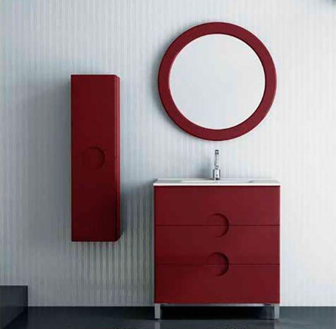 Mueble de baño de color burdeos