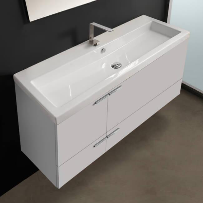 47 inch glossy white bathroom vanity set large basin sink