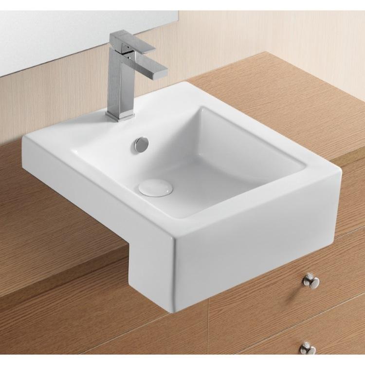 square white ceramic semi recessed bathroom sink