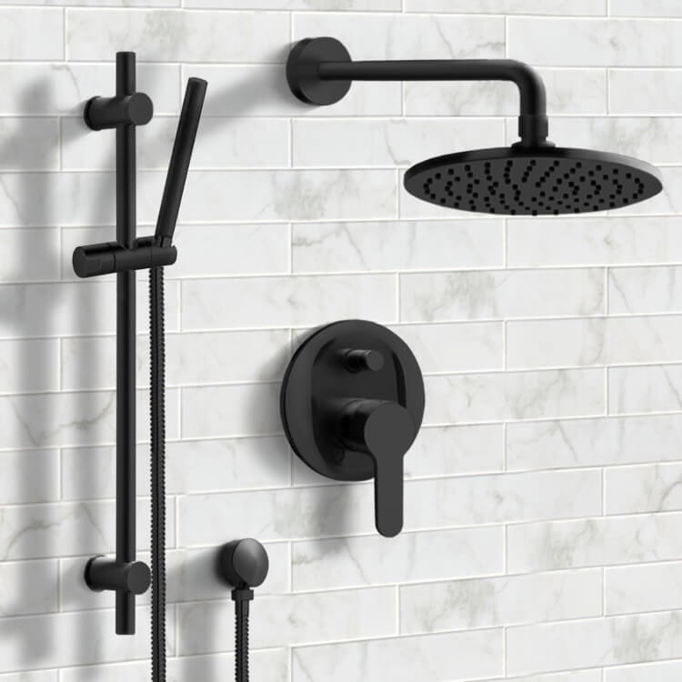 matte black shower system with 8 inch rain shower head and hand shower