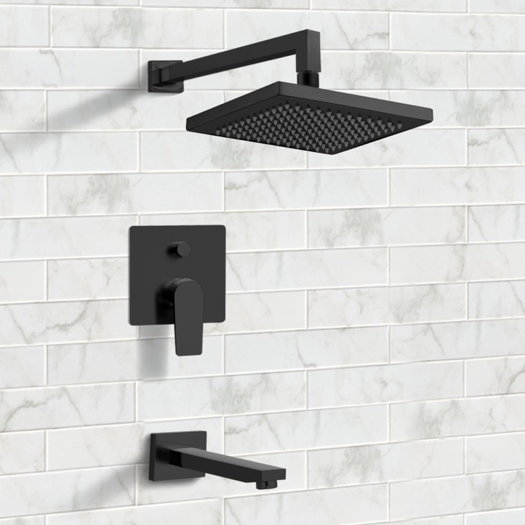 matte black tub and shower faucet sets with 8 inch rain shower head
