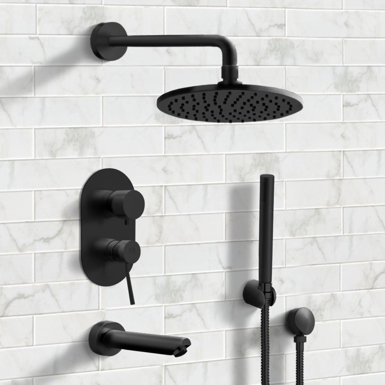 matte black tub and shower system with 8 inch rain shower head and hand shower