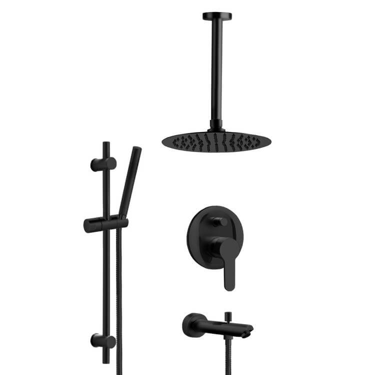 matte black tub and shower faucet set with ceiling rain shower head and hand shower