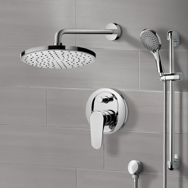 chrome shower system with 8 inch rain shower head and hand shower