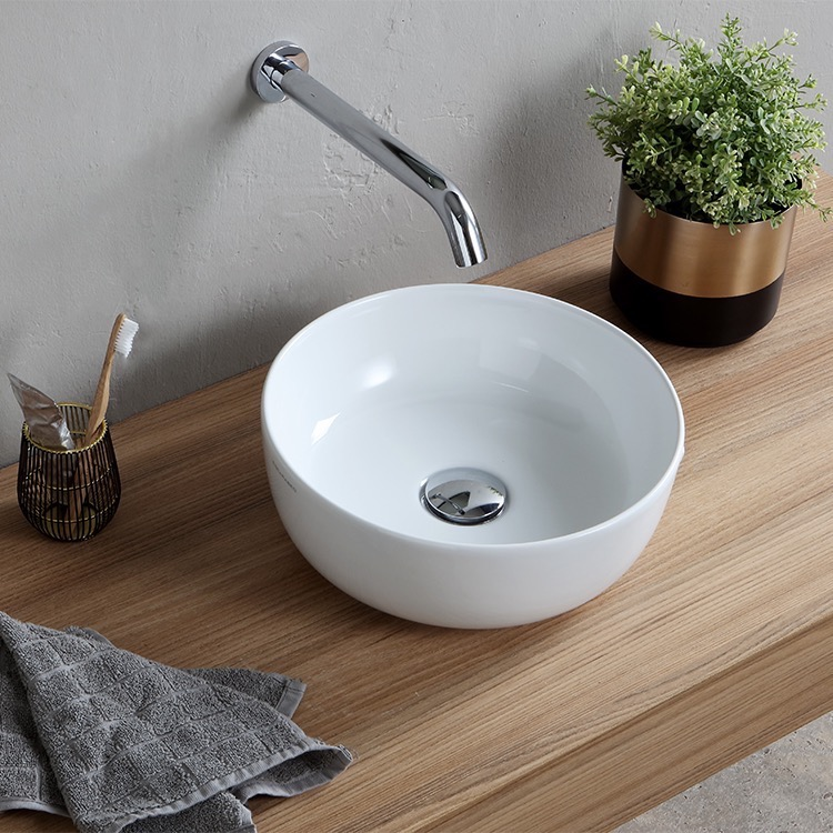 Scarabeo 1808 By Nameek S Glam Small Round Ceramic Vessel Sink Thebathoutlet