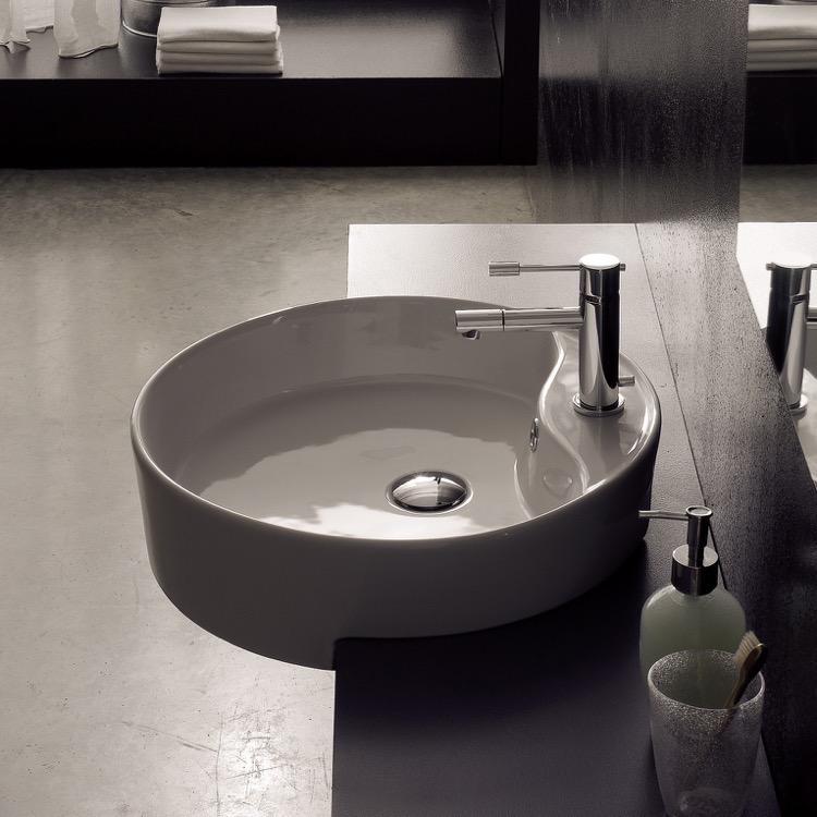 round white ceramic semi recessed sink