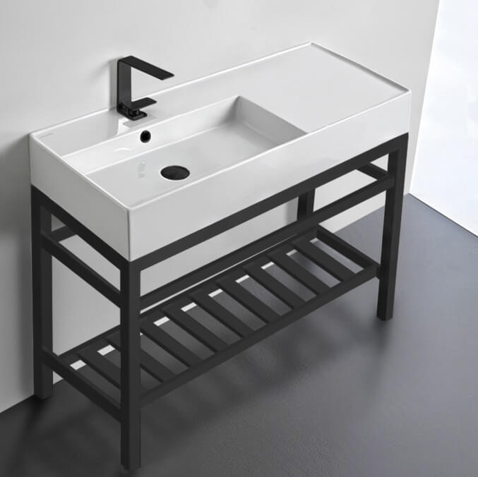 modern ceramic console sink with counter space and matte black base