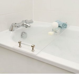 Transparent Bath Rack Bath Tub Storage Tray With Handles Modern Luxury Plexiglass
